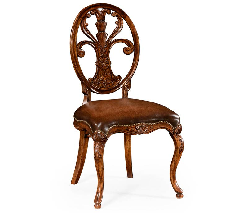 Jonathan Charles Sheraton Style Oval Back Side Chair for Medium Antique Chestnut Leather Seat 494941