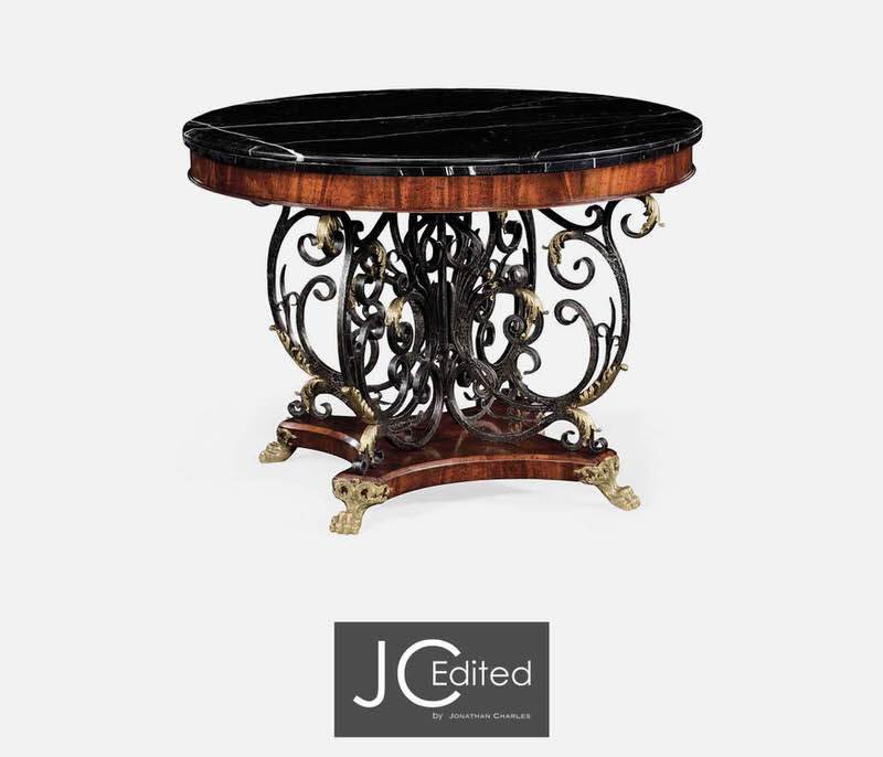 Jonathan Charles Baroque Wrought Iron & Brass Centre Table 494360