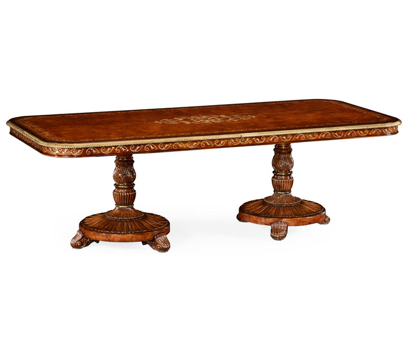 Jonathan Charles 102″ Rectangular Burl Walnut & Mother of Pearl Dining Table 499500